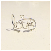 Love Script Ring, Silver Plated, Adjustable Wire