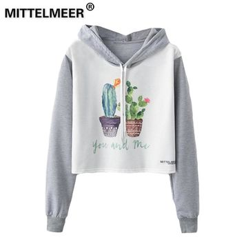 KPOP BTS Bangtan Boys Army MITTELMEER 2019  Harajuku Hooded Sweatshirt Autumn Spring Woman girls student Cartoon cactus Flamingo printing Short Hoodies AT_89_10