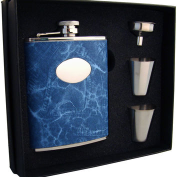 Visol Denim 6oz Blue Leatherette Flask Gift Set