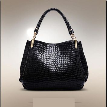 New Realer Brand Croc Printed Leather Bag - 3 colors