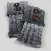 Multi Color Fold Over Button Knit Boot Cuffs