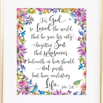 John 3 16 Print - For God So Loved the World
