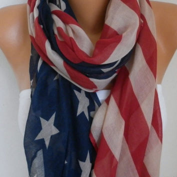 American Flag Scarf American Scarf Cotton Star Scarf Patriotic Scarf July 4th Scarf Memorial Day Gift Ideas Soft Red Blue Khaki