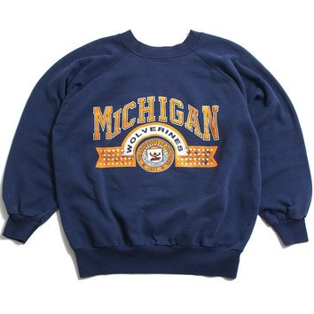 University of Michigan Line Arch & Seal Crewneck Sweatshirt Light Navy (Medium)