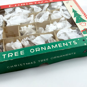 Vintage Christmas Ornaments Box Only Christmas Gift Box Santa Tree Christmas Storage Box Christmas Ornament Storage Christmas Ephemera