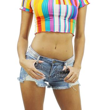 Multi Color Stripes Round Neck Short Sleeve Lettuce Edge Trim Crop Top