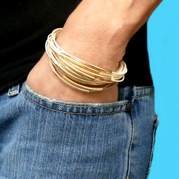 Gold Curved Bar Beige & Ivory Multi-strand Faux Snake Skin Leather Magnetic Clasp Bracelet Cuff, Gift