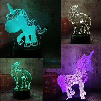 New Beautiful Kawaii Unicorn 3D LED Night Light Desk Lamp Multicolor Luminaria RGB Bulb Decorative  Christmas Gift Cartoon Toys