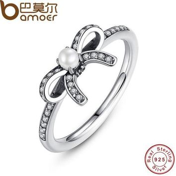 VONG2W BAMOER 925 Sterling Silver Delicate Sentiments Finger Ring with White Pearl & Clear CZ Original Engagement Ring PA7160