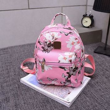 Cute Women Floral Shoulder Bag Fashion Travel Faux Leather Backpack Lady Print School Bag Girl Flower Satchel
