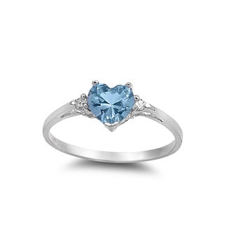 925 Sterling Silver CZ Heart Simulated Aquamarine Ring 7MM