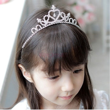 2014 New Accessories Cute Girls Rhinestone Princess Crown Headband Tiara Hair Sticks Girls Headwear Silvery SV001649 Necklace (Color: Silver) = 1652573188