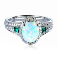 Lab-Created Opal, Emerald & Diamond Ring in Sterling Silver - Jewelry - Helzberg Diamonds