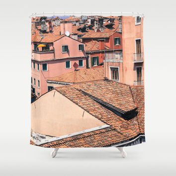 Shower Curtain - Venice Rooftops - Venice Italy - Italy Shower Curtain - Photo Shower Curtain - Pink - Shower Curtain Italy - Gifts for Her