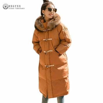 2017 Caramel Long Winter Coat Female Loose Plus Size Puffer Jacket Horn Button Fur Collar Hooded Parka Warm Woman Clothes Okb354