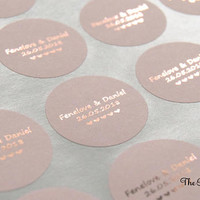 Rose Gold Wedding Stickers, Foil Wedding Stickers, Blush Personalised Favour Stickers, Wedding Favor Labels, Custom Wedding Stickers, 25mm