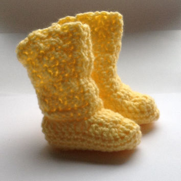 Handmade crochet baby boy booties in yellow or make your costume order with color and size