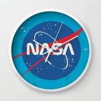 Enlist to become an Astronaut! Vintage nasa poster Wall Clock by Nick's Emporium | Society6