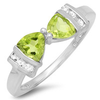 1ct tw Peridot and White Topaz Trillion Bow Tie Ring in Sterling Silver( Available Sizes 5-7)