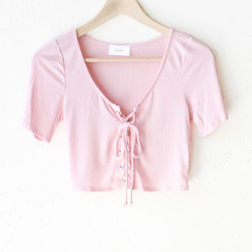 Lace Up Crop Top - Dusty Pink