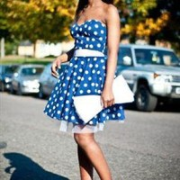 Blue Cocktail Dress - Blue and White Polka Dot Retro Trendy