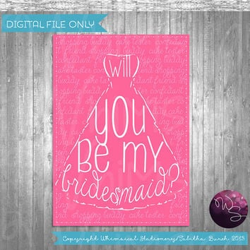 "Bridesmaid Proposal Cards - ""Wedding Dress"" (Printable File Only) Asking Bridesmaid, Be My Bridesmaid, Be In My Wedding"