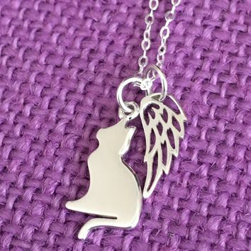 Pet Memorial Jewelry - Cat Remembrance - Sterling Silver Necklace - Cat Angel Necklace - Delicate  Jewelry - Tiny Charm Pendant Necklace