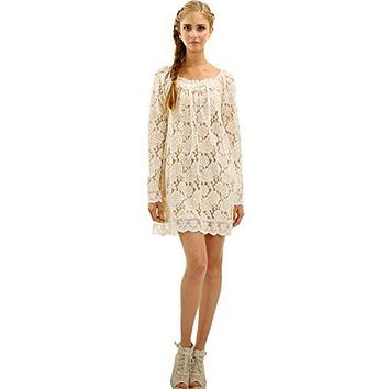 Women's Floral Lace Long Sleeve Mini Dress for Special Occasion