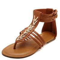 GOLDEN CHEVRON EMBELLISHED THONG GLADIATOR SANDALS