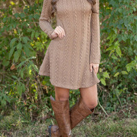 SIMPLE - Cardigan Knit Long Sleeve Round Necked One Piece Dress b4564