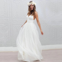 Sexy Beach Wedding Dress 2017 Speghetti Plunging Neckline Sweep Train summer Honeymoon Dress 2016 Wedding Gowns vestido de noiva