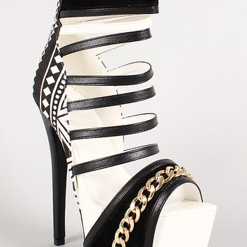 Tribal Super Strappy Chain Link Platform Stiletto Heel