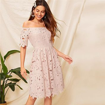Pink Elegant Off Shoulder Fit And Flare Guipure Lace Dress Woman Party Night Romantic High Waist Lady Midi Dress