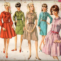 60s Retro Mad Men Style Shirt Dress Simplicity Sewing Pattern Front Button Band Collar Long Short Sleeves Tucked Bodice Pleated Top Bust 36