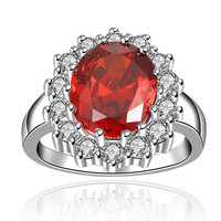 Ruby Red Swarvoski Inspired Encrusted Ring
