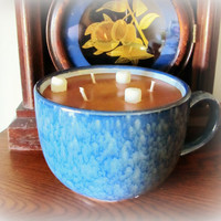 Amazing Cup of Hot Chocolate Candle, Three wick candle with 20 plus ounces of Chocolate Soy wax, Large Blue Mug, Brown Candle, Hemp Wicks