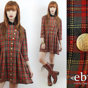 Vintage 90s Red Plaid Mini Dress L XL Military Dress 90s Grunge Dress Tartan Plaid Dress Red Dress Red Plaid Dress Plaid 90s Plaid Dress