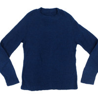 Navy Blue Pullover Sweater -  Wool Crewneck Preppy Ivy League Menswear - Men's Size Medium Med M
