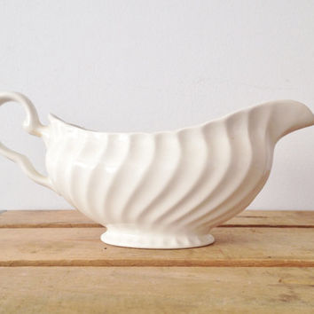 White Gravy Boat - Johnson Brothers - Regency - Made in England - Earthenware - Ironstone