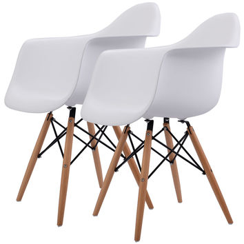 Costway Set of 2 Mid Century Modern Molded Eames Style Dining Arm Chair Wood Legs