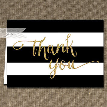 Black & White Stripe Thank You Card Gold Glitter INSTANT DOWNLOAD Folded Note Card Notecard Blank Inside Digital or Printed - Wendy