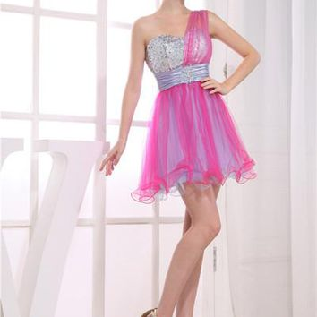 One Shoulder Colourful Short Homecoming Dresses