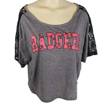Licensed Wisconsin Badgers Raglan Style Shirt W/ Lace Insets In The Sleeves Sleeved Tee KO_19_1