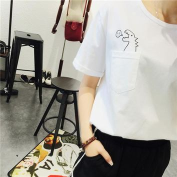 2017 Summer Korean Style Fashion Loose Girl Women's Short Sleeve Dinosaurs Print T shirt