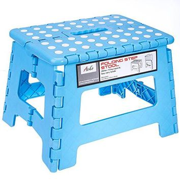 9-Inch Plastic Folding Step Stool Holds up to 250 lb, Light Blue