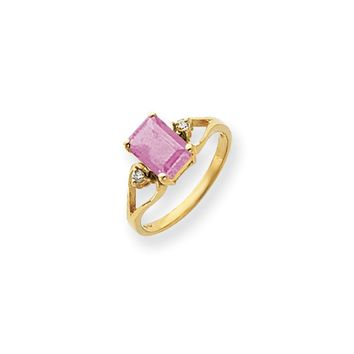 0.05 Ct  14k Yellow Gold 8x6mm Emerald Cut Pink Tourmaline Diamond Ring I2 Clarity and I/J Color
