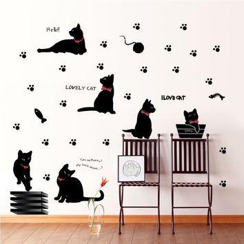 lovely playing cats animals wall stickers kids room decoration 843. home decals kitten printing mural art cartoon diy poster 4.0