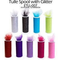 Glitter Tulle Bolt Fabric Net Spool Roll, 5-1/2-inch, 10-yard