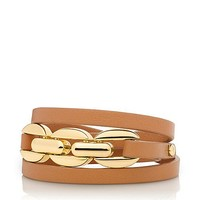 CHAIN AND LEATHER TRIPLE WRAP BRACELET