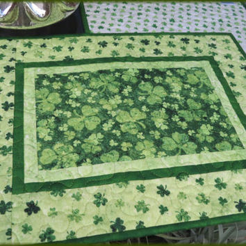 Quilted Irish Shamrock Placemats St Patrick 693